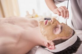 foto of beauty parlour  - Spa therapy for young asian woman receiving facial mask at beauty salon - JPG