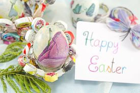 pic of decoupage  - Handmade decoupage Easter egg on a handmade paper plate with a Happy Easter card - JPG