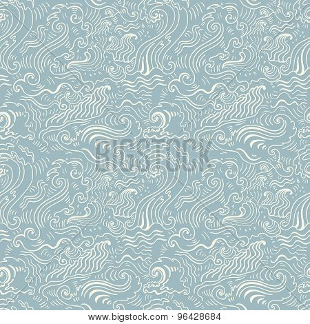 poster of Sea waves.  Seamless background