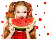 pic of watermelon slices  - Beauty teenage model girl eating watermelon - JPG