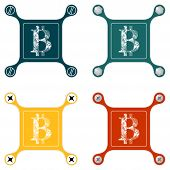 picture of bit coin  - Set of four flat simple icons with screws and bit coin symbol - JPG