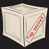 pic of top-secret  - Box against a dark background with an inscription top secret - JPG