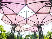 picture of canopy roof  - Pink roof tent with steel structure for outdoor place - JPG