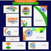 image of indian independence day  - Social media post and header with tricolor elements for Indian Independence Day celebration - JPG