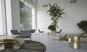 pic of reception-area  - Modern designer living room with houseplants with scattered individual seating areas and a dining table lit by large view windows in a double volume space - JPG