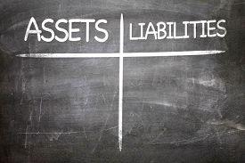 image of asset  - Assets Liabilities written on a chalkboard - JPG