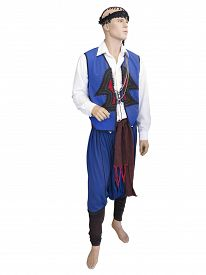 picture of national costume  - Greek cretan national man clothes costume on mannequin isolated over white background - JPG