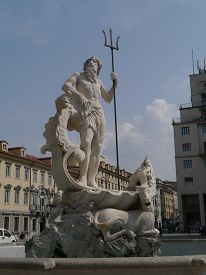 picture of trident  - The fountain of Neptune with the trident in Trieste in Northern Italy - JPG