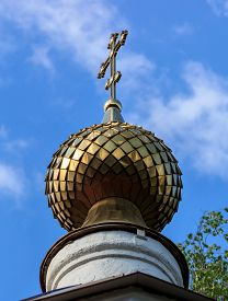 pic of epiphany  - Golden dome of the Church of Epiphany in the village Perhovo - JPG