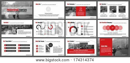 poster of Red elements for infographics on a white background. Presentation templates. Use in presentation, flyer and leaflet, corporate report, marketing, advertising, annual report, banner.