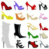 set of women shoes illustration