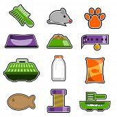 conjunto de ícones de objeto gato