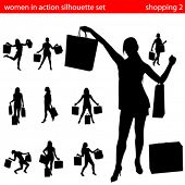 women in shopping silhouette set 2