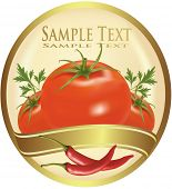 Label for ketchup. Photo-realistic vector illustration.