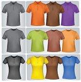 Black and colored t-shirts (men and women). Photo-realistic vector illustration.