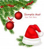 Ramas de sombrero y árbol de Santa con lazos rojos. Vector.