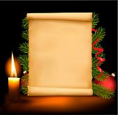 stock photo of christmas wreath  - Christmas decorations on the old paper - JPG