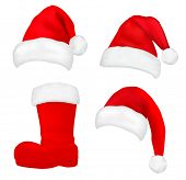 Set of  red santa hats and boot. Vector.