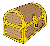 foto of hasp  - Wooden treasure chest with lock  - JPG