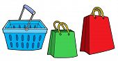 Shopping basket and bags - vector illustration.