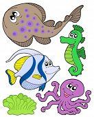 Cute marine animals collection 3 - vector illustration.