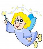 Cute angel with wand - vector illustration.
