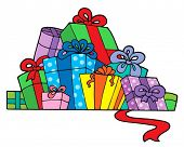 Pile of various gifts - vector illustration.