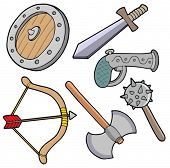 Weapons collection - vector illustration.