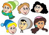Children faces collection 2 - vector illustration
