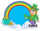 Rainbow circle with leprechaun - vector illustration.