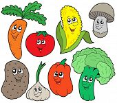 Cartoon vegetable collection 1 - vector illustration.