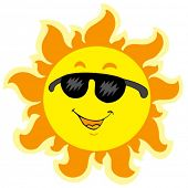 stock photo of summer fun  - Cute summer Sun with sunglasses  - JPG