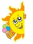Lurking Sun with icecream - vector illustration.