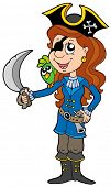 Pirate girl with parrot and sabre - vector illustration.