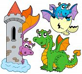 Cute dragons collection - vector illustration.