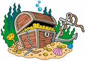 Treasure chest on sea bottom - vector illustration.