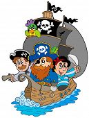 image of cap gun  - Ship with various cartoon pirates  - JPG