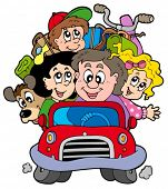 Happy family in car on vacation - vector illustration.