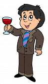 Cartoon wine drinker - vector illustration.