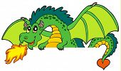 foto of giant lizard  - Giant green lurking dragon  - JPG