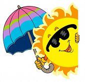 Lurking Sun with umbrella - vector illustration.