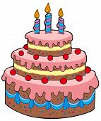 image of fancy cakes  - Big cartoon birthday cake  - JPG