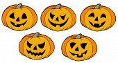 Various Halloween pumpkins - vector illustration.