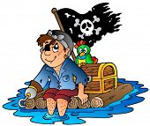 Cartoon pirate sailing on raft - vector illustration.