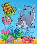 Unterwasser Tiere und Fische 1 - Vektor-Illustration.