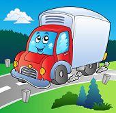 Camión en carretera - vector ilustración de dibujos animados.