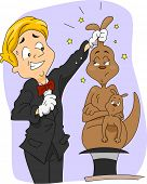 Illustration of a Magician Pulling a Kangaroo Out of His Hat