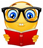 stock photo of smiley face  - Vector design of a nerd emoticon holding a book - JPG