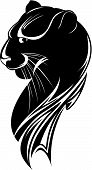 picture of panther  - abstract head of the black panther on white background - JPG