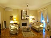 interior of a yellow living room
